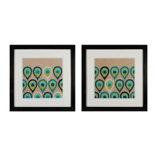 Peacock Regalia 2 Piece Framed Graphic Art Set
