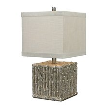 "Silver Bamboo 22"" H  Table Lamp with Drum Shade"