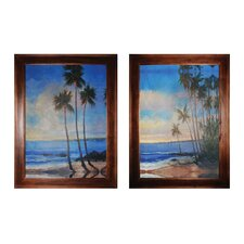 Embellished Tropical Breeze 2 Piece Framed Painting Print Set