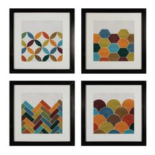 Custom Geometric 4 Piece Framed Graphic Art Set