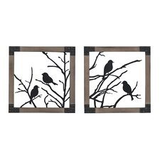 2 Piece Ollerton Birds on a Branch Wall Décor Set