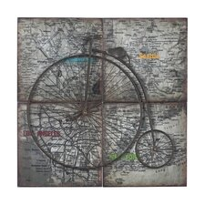 Penny Farthing on Collage Map of USA Metal Craft Set