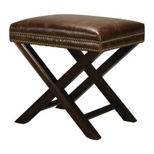 Kilorona Leather and Nail Head Cross Leg Ottoman