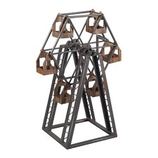 Bradworth Industrial Ferris Metal Wheel Candle Holder