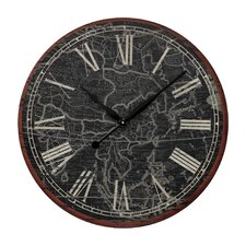 "Oversized 24"" Map Of The World Printed Wall Clock"
