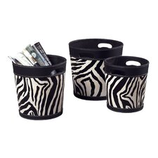 3 Piece Zebra Patterned Magazine Holder