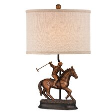 """Polo Player 21"""" H Table Lamp with Drum Shade"""