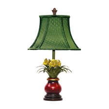 """Flowers in Ruby 21.5"""" H Table Lamp with Bell Shade"""
