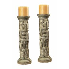 Resin Alphabet Table Candlestick (Set of 2)