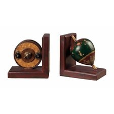 <strong>Sterling Industries</strong> Antique Fishing Reel and Float Book Ends (Set of 2)