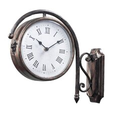 Antique Double Sided Wall Clock in Bronze