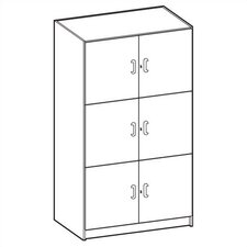 "Solid HPL Door Music Storage: 3 Equal Compartments with 48"" W"