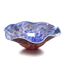 Hand Blown Decorative Dish in Blue and Red