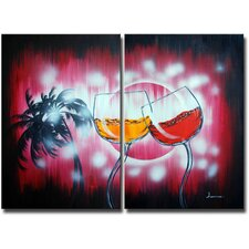Dancing in the Rain 2 Piece Original Painting on Canvas Set