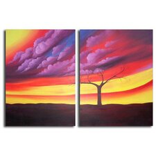 Hand Painted 'Purple Storm' Canvas Art in Purple