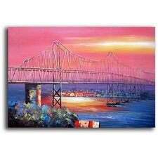 Hand Painted 'The Bay Bridge' Canvas Art