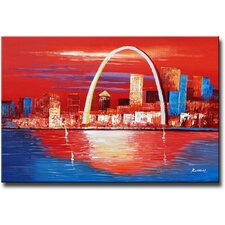 Hand Painted 'Gateway to the West' Canvas Art