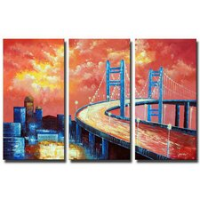 Cloudy Overpass 3 Piece Original Painting on Canvas Set