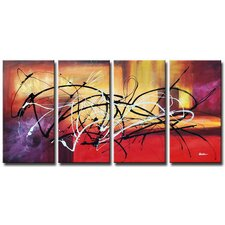 <strong>White Walls</strong> Hand Painted 'Abstract Aftermath' Canvas Art Set