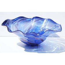 Hand Blown Glass Bowl in Blue