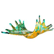 Turquoise Splash Hand Blown Decorative Bowl in Orange and Teal Green
