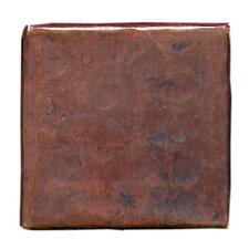 "Plain Hammered 2"" x 2"" Copper Border Tile in Dark Copper"