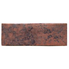 "Plain Hammered 6"" x 2"" Copper Border Tile in Dark Copper"
