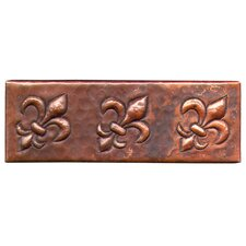 "<strong>D'Vontz</strong> Fleur De Lis 6"" x 2"" Copper Border Tile in Dark Copper"