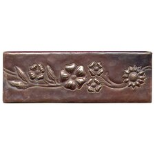 "Multi-Flower Band 6"" x 2"" Copper Border Tile in Dark Copper"
