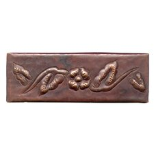"Single Flower 6"" x 2"" Copper Border Tile in Dark Copper"