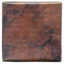 "Plain Hammered 4"" x 4"" Copper Tile in Dark Copper"