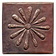 "Burst 4"" x 4"" Copper Tile in Dark Copper"