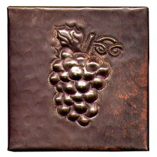 "Grapes 4"" x 4"" Copper Tile in Dark Copper"