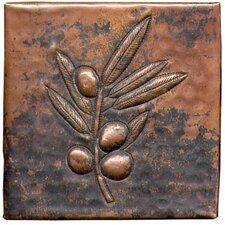 "Berry Branch 4"" x 4"" Copper Tile in Dark Copper"