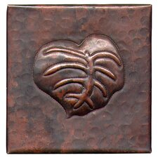 "Banana Leaf 4"" x 4"" Copper Tile in Dark Copper"