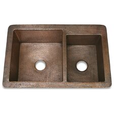 "<strong>D'Vontz</strong> Copper 33"" x 22"" Hammered 60/40 Kitchen Sink"