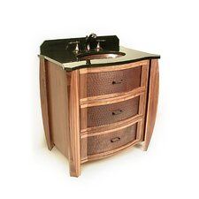 "Vanities 32"" Bombay Copper Front Cabinet Vanity Set with Single Sink"