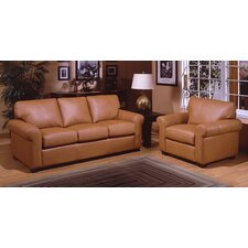<strong>Omnia Furniture</strong> West Point Leather 3 Seat Sofa Living Room Set