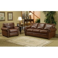 Savannah Leather 3 Seat Sofa Living Room Set