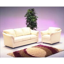 Salerno 3 Seat Leather Living Room Set