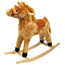<strong>Happy Trails</strong> Horse Plush Rocking with Wooden Base
