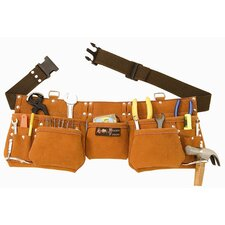 <strong>Born Tough</strong> 11 Pocket Suede Leather Tool Pouch Bag Belt / Tool Apron