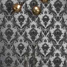 Damsel Temporary Wallpaper in Metallic Silver