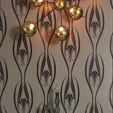 Etta Temporary Wallpaper in Black and Clay