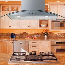 "Modern 36"" 375 - 600 CFM Three Mode Island Range Hood"