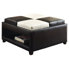 Sophisticated Leatherette Cocktail Ottoman