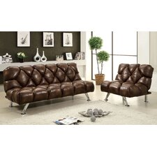 Jenello Leather Vinyl Sleeper Sofa Set