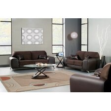 Sona Suede Leatherette Sofa and Loveseat Set