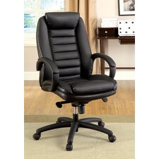 Jun Hight-Back Leatherette Office Chair with Arms