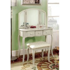 Sophisticated Vanity Set with Mirror and Stool